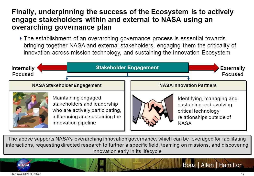 19 Finally, underpinning the success of the Ecosystem is to actively engage stakeholders within and external to NASA using an overarching governance plan Filename/RPS Number The above supports NASA's overarching innovation governance, which can be leveraged for facilitating interactions, requesting directed research to further a specific field, teaming on missions, and discovering innovation early in its lifecycle NASA Stakeholder Engagement NASA Innovation Partners Internally Focused Externally Focused Stakeholder Engagement  The establishment of an overarching governance process is essential towards bringing together NASA and external stakeholders, engaging them the criticality of innovation across mission technology, and sustaining the Innovation Ecosystem Maintaining engaged stakeholders and leadership who are actively participating, influencing and sustaining the innovation pipeline Identifying, managing and sustaining and evolving critical technology relationships outside of NASA