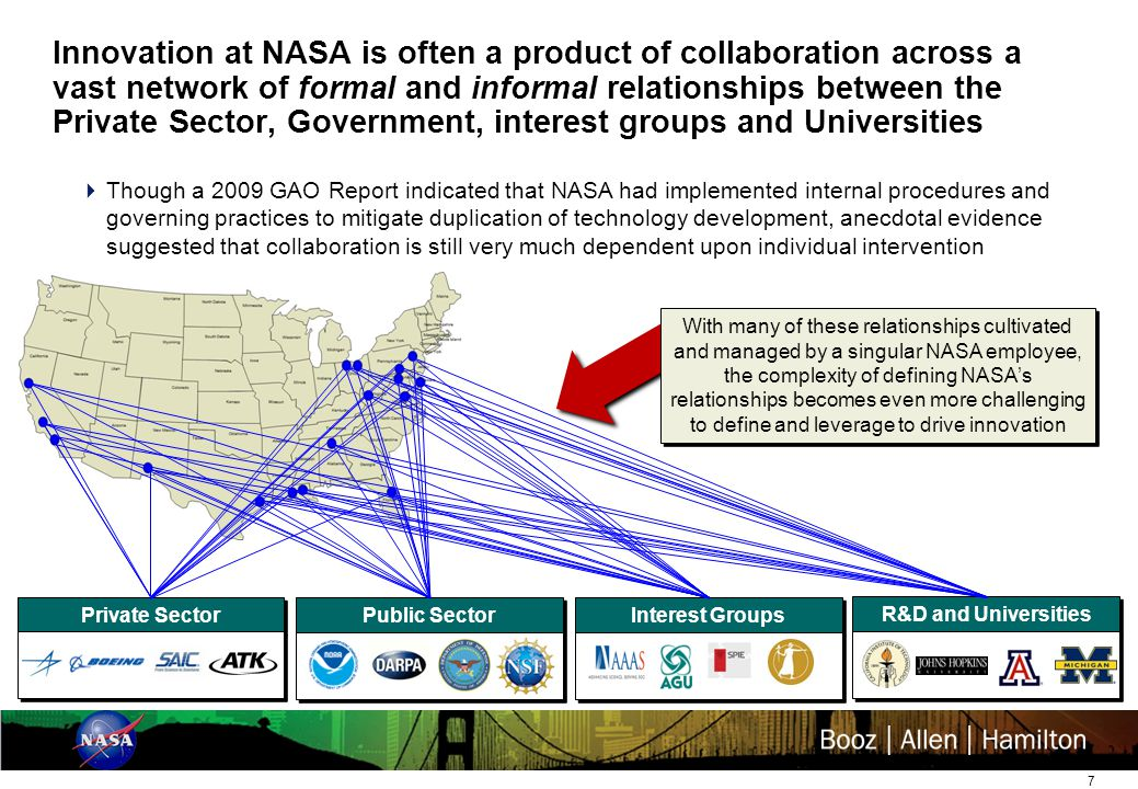 7 Innovation at NASA is often a product of collaboration across a vast network of formal and informal relationships between the Private Sector, Government, interest groups and Universities Private Sector Public Sector Interest Groups R&D and Universities  Though a 2009 GAO Report indicated that NASA had implemented internal procedures and governing practices to mitigate duplication of technology development, anecdotal evidence suggested that collaboration is still very much dependent upon individual intervention With many of these relationships cultivated and managed by a singular NASA employee, the complexity of defining NASA's relationships becomes even more challenging to define and leverage to drive innovation