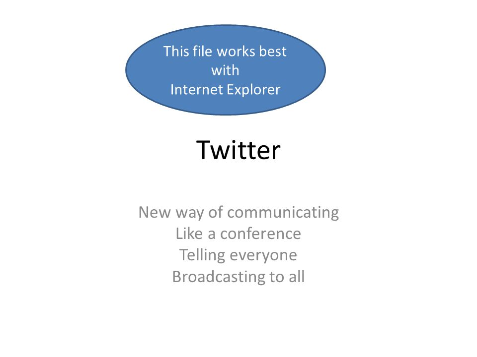 Twitter New way of communicating Like a conference Telling everyone Broadcasting to all This file works best with Internet Explorer