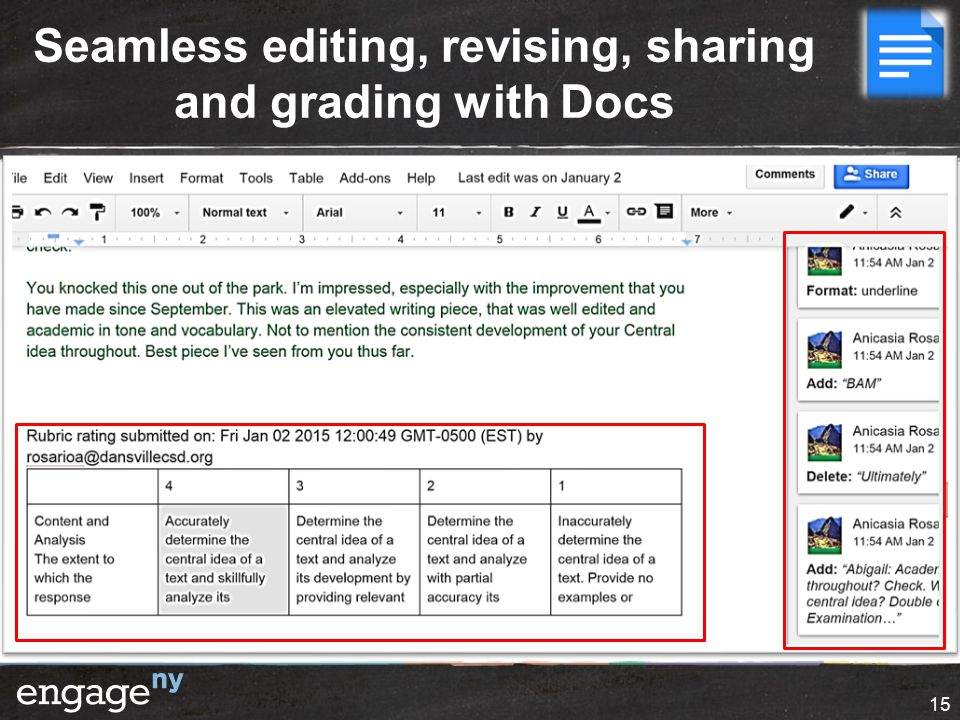 Seamless editing, revising, sharing and grading with Docs 15