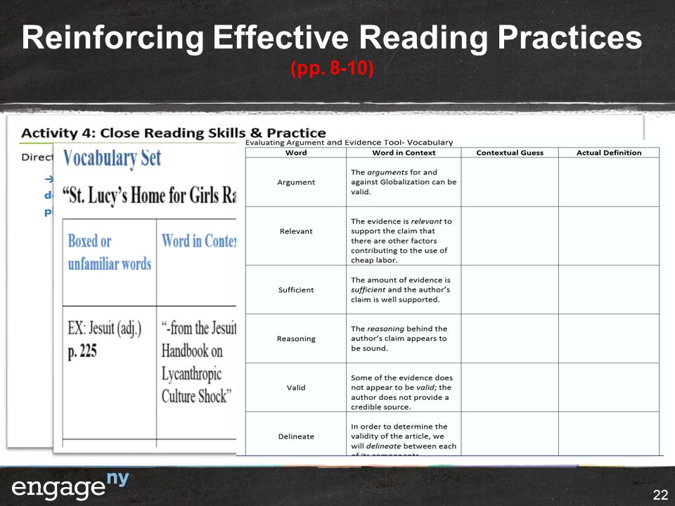 Reinforcing Effective Reading Practices (pp. 8-10) 22
