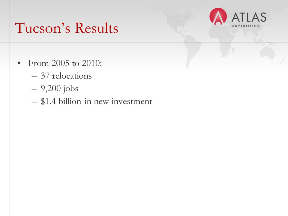 Tucson's Results From 2005 to 2010: –37 relocations –9,200 jobs –$1.4 billion in new investment