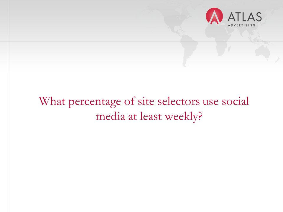 What percentage of site selectors use social media at least weekly?