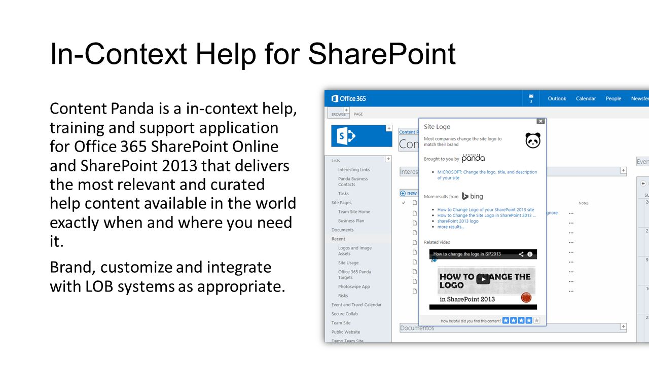 In-Context Help for SharePoint Content Panda is a in-context help, training and support application for Office 365 SharePoint Online and SharePoint 2013 that delivers the most relevant and curated help content available in the world exactly when and where you need it.