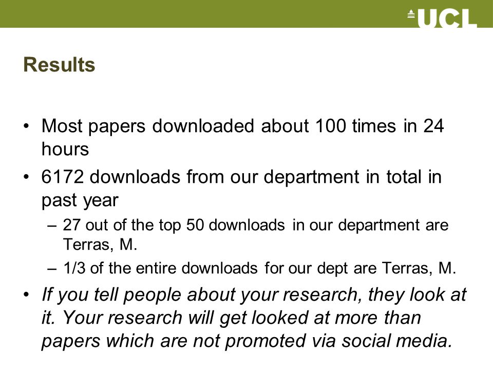 Results Most papers downloaded about 100 times in 24 hours 6172 downloads from our department in total in past year –27 out of the top 50 downloads in our department are Terras, M.