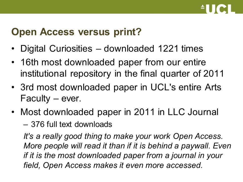 Open Access versus print.