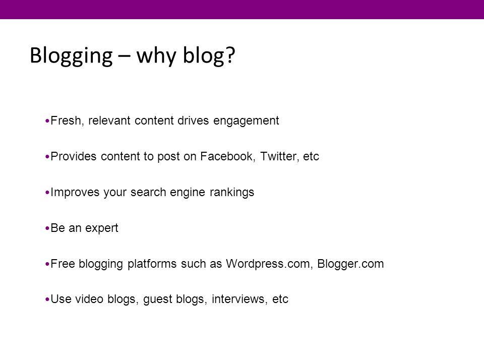 Blogging – why blog.