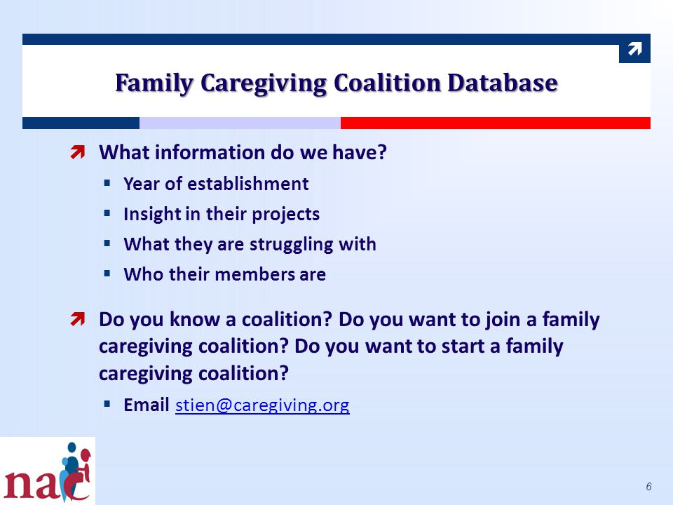  Family Caregiving Coalition Database  What information do we have.