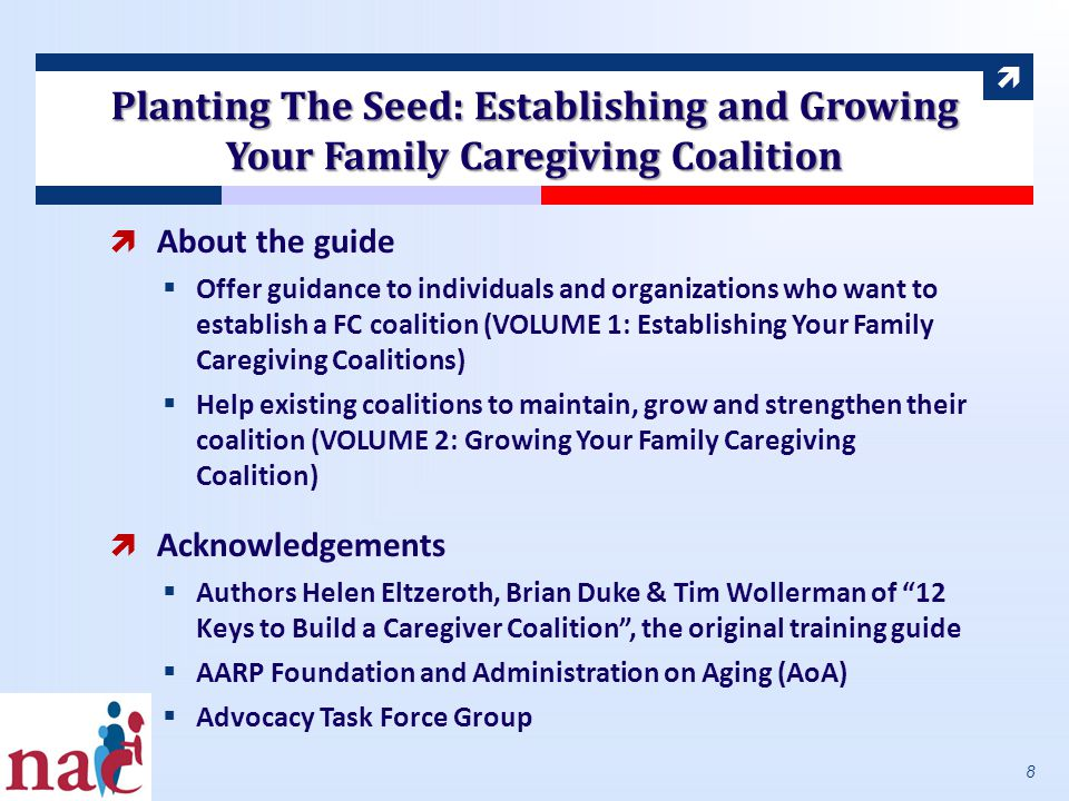  Planting The Seed: Establishing and Growing Your Family Caregiving Coalition  About the guide  Offer guidance to individuals and organizations who want to establish a FC coalition (VOLUME 1: Establishing Your Family Caregiving Coalitions)  Help existing coalitions to maintain, grow and strengthen their coalition (VOLUME 2: Growing Your Family Caregiving Coalition)  Acknowledgements  Authors Helen Eltzeroth, Brian Duke & Tim Wollerman of 12 Keys to Build a Caregiver Coalition , the original training guide  AARP Foundation and Administration on Aging (AoA)  Advocacy Task Force Group 8