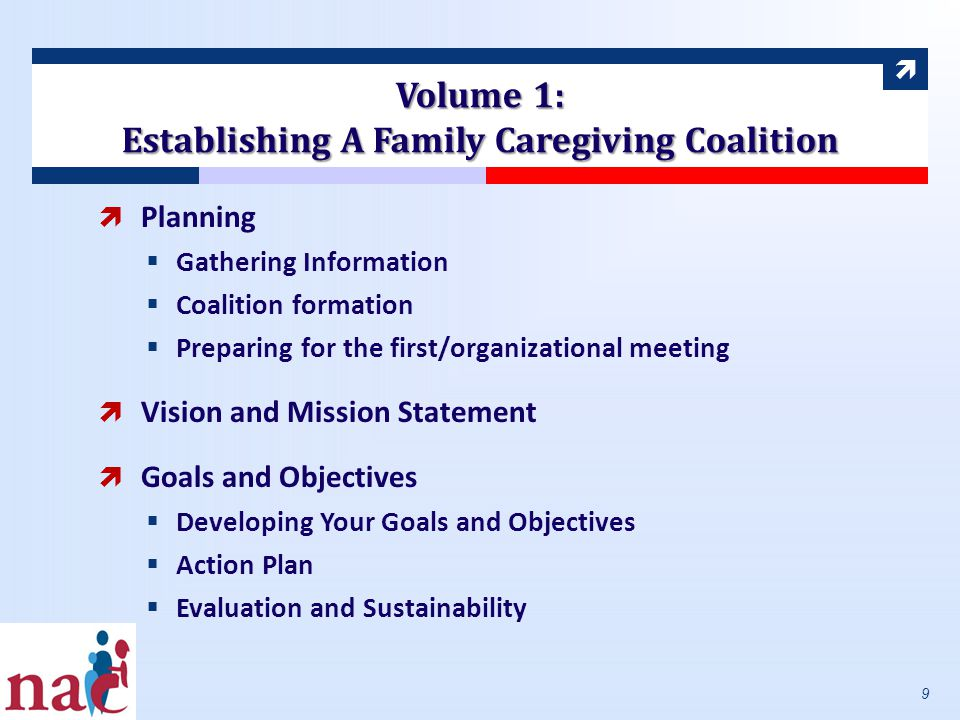 Volume 1: Establishing A Family Caregiving Coalition  Planning  Gathering Information  Coalition formation  Preparing for the first/organizational meeting  Vision and Mission Statement  Goals and Objectives  Developing Your Goals and Objectives  Action Plan  Evaluation and Sustainability 9