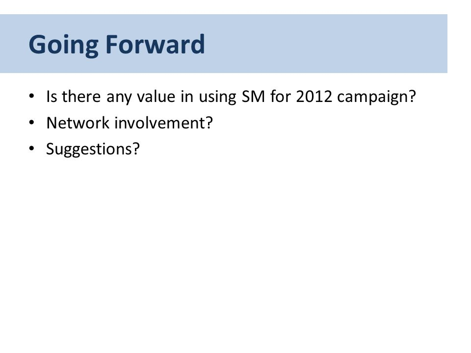 Going Forward Is there any value in using SM for 2012 campaign? Network involvement? Suggestions?