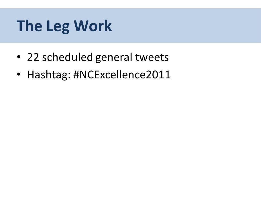 22 scheduled general tweets Hashtag: #NCExcellence2011 The Leg Work