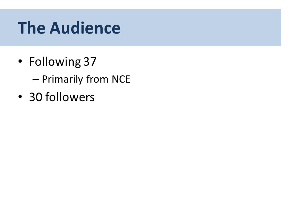 The Audience Following 37 – Primarily from NCE 30 followers