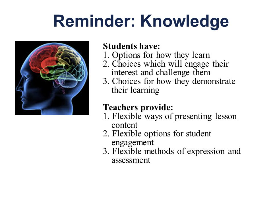 Reminder: Knowledge Students have: 1. Options for how they learn 2.
