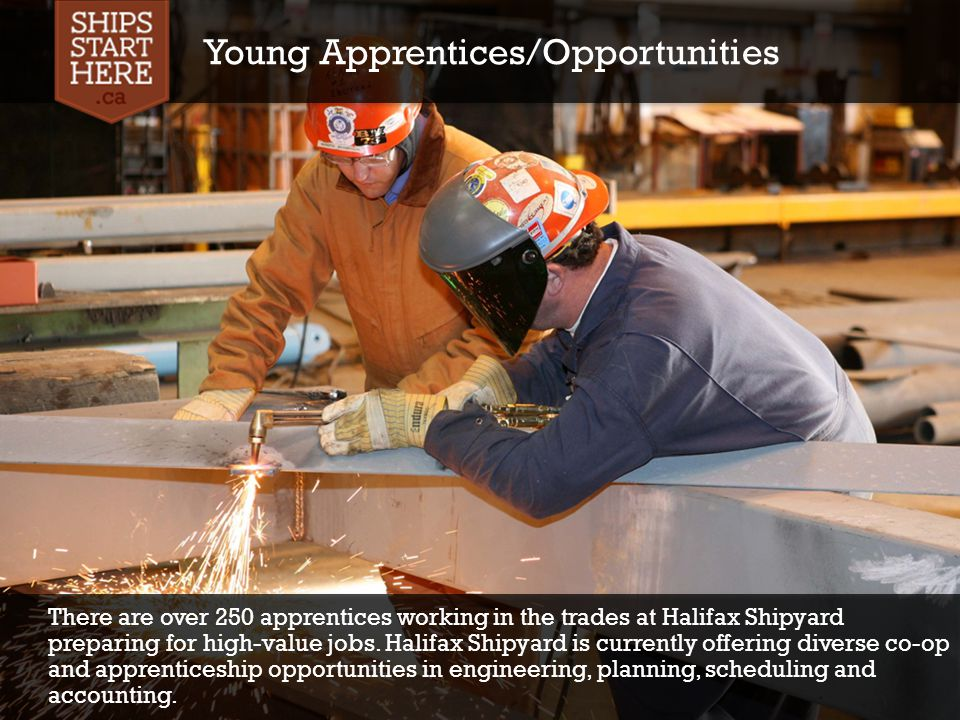 Young Apprentices/Opportunities There are over 250 apprentices working in the trades at Halifax Shipyard preparing for high-value jobs.