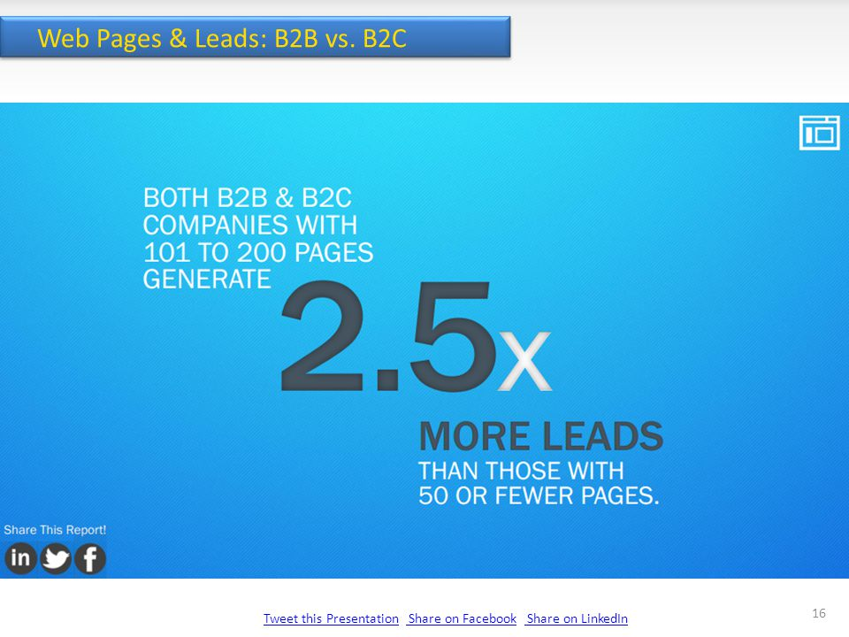 Tweet this PresentationTweet this Presentation Share on Facebook Share on LinkedIn Share on Facebook Share on LinkedIn 16 Web Pages & Leads: B2B vs.