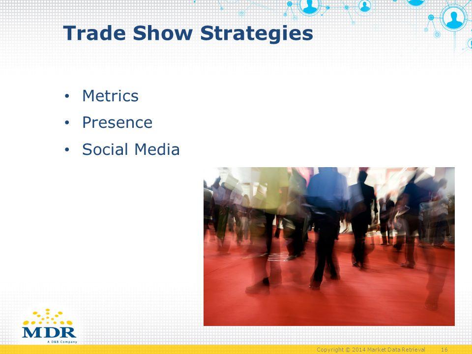 Copyright © 2014 Market Data Retrieval 16 Trade Show Strategies Metrics Presence Social Media 16
