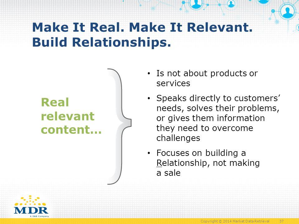 Copyright © 2014 Market Data Retrieval 37 Make It Real.