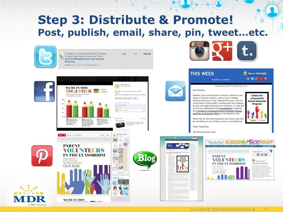 Copyright © 2014 Market Data Retrieval 47 Step 3: Distribute & Promote.