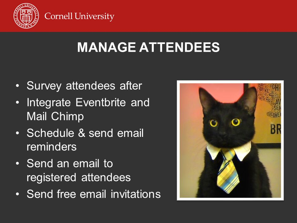 MANAGE ATTENDEES Survey attendees after Integrate Eventbrite and Mail Chimp Schedule & send email reminders Send an email to registered attendees Send
