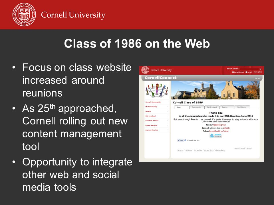 Class of 1986 on the Web Focus on class website increased around reunions As 25 th approached, Cornell rolling out new content management tool Opportu