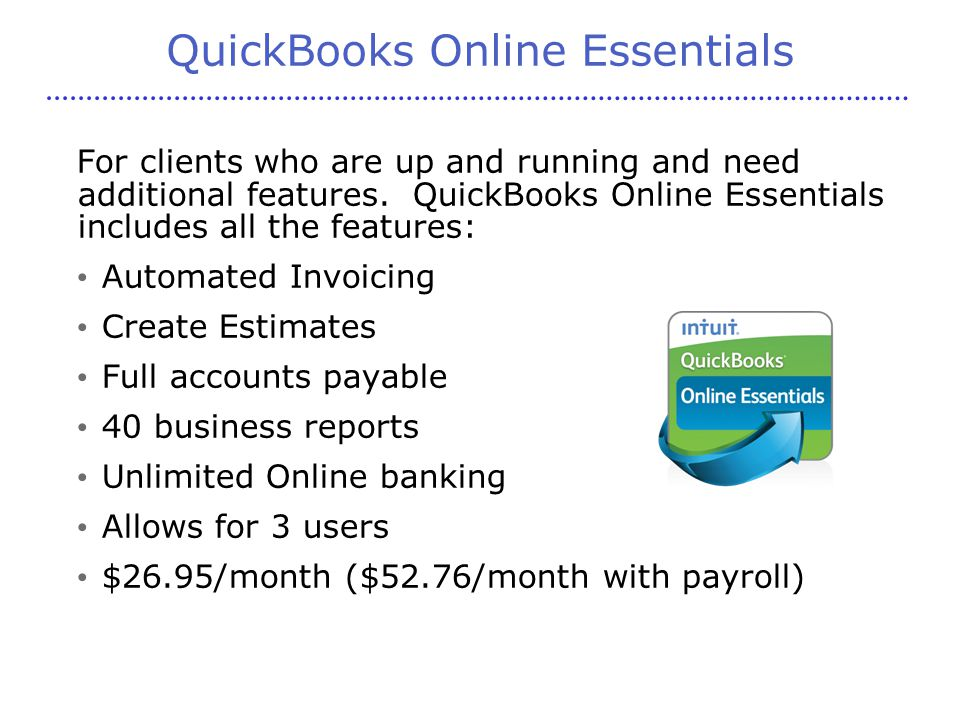 QuickBooks Online Essentials For clients who are up and running and need additional features.