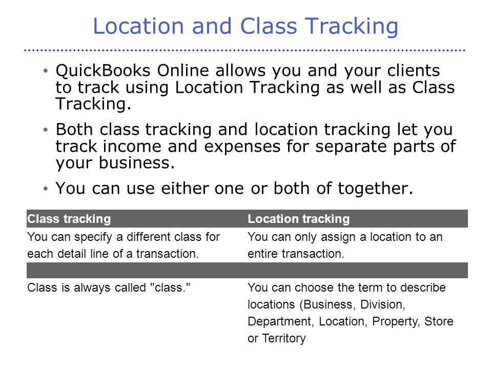 Location and Class Tracking QuickBooks Online allows you and your clients to track using Location Tracking as well as Class Tracking.