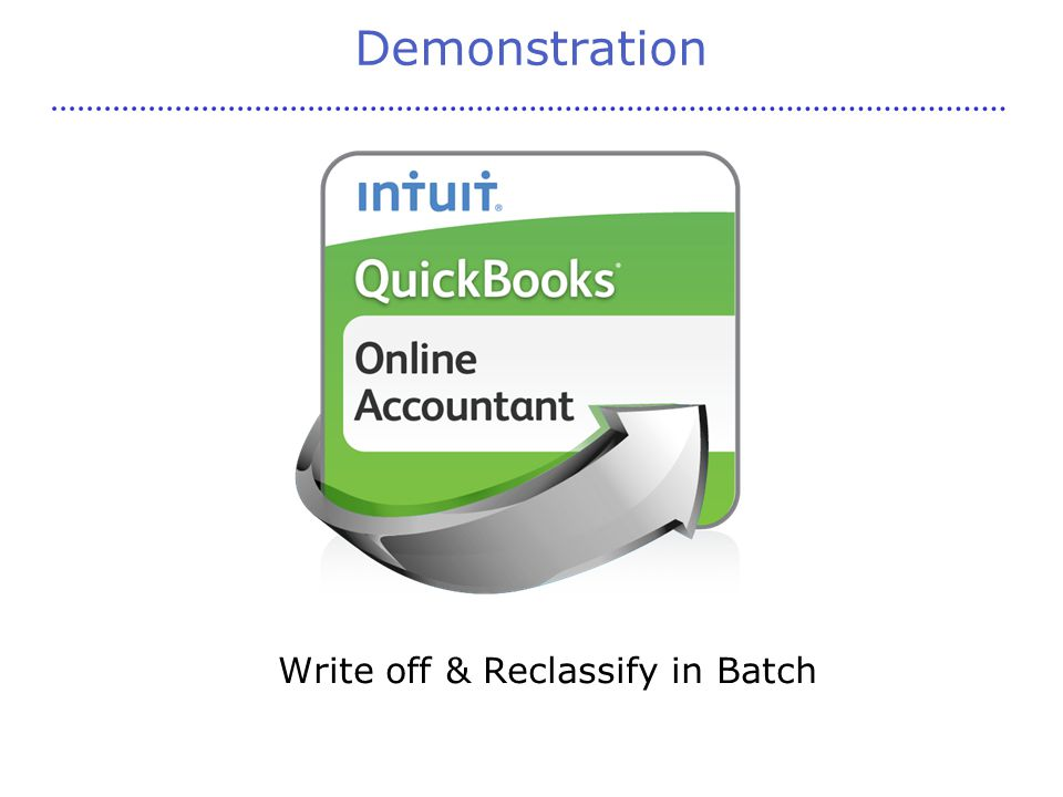 Demonstration Write off & Reclassify in Batch