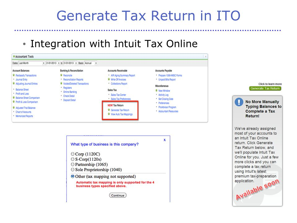 Generate Tax Return in ITO Integration with Intuit Tax Online