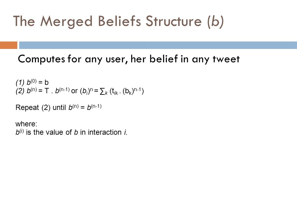Computes for any user, her belief in any tweet (1)b (0) = b (2)b (n) = T.