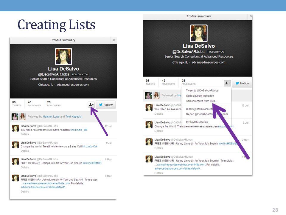 Creating Lists 28