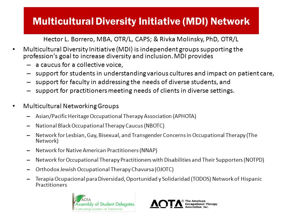 Multicultural Diversity Initiative (MDI) Network Multicultural Diversity Initiative (MDI) is independent groups supporting the profession's goal to increase diversity and inclusion.