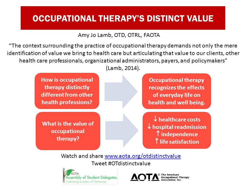 OCCUPATIONAL THERAPY'S DISTINCT VALUE Amy Jo Lamb, OTD, OTRL, FAOTA How is occupational therapy distinctly different from other health professions.