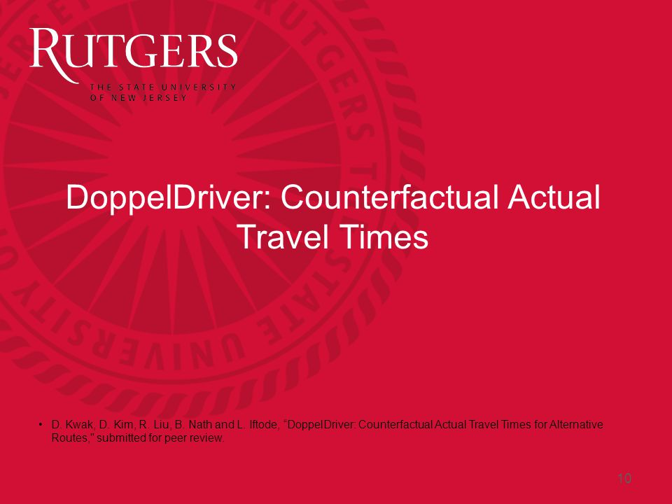 DoppelDriver: Counterfactual Actual Travel Times D.