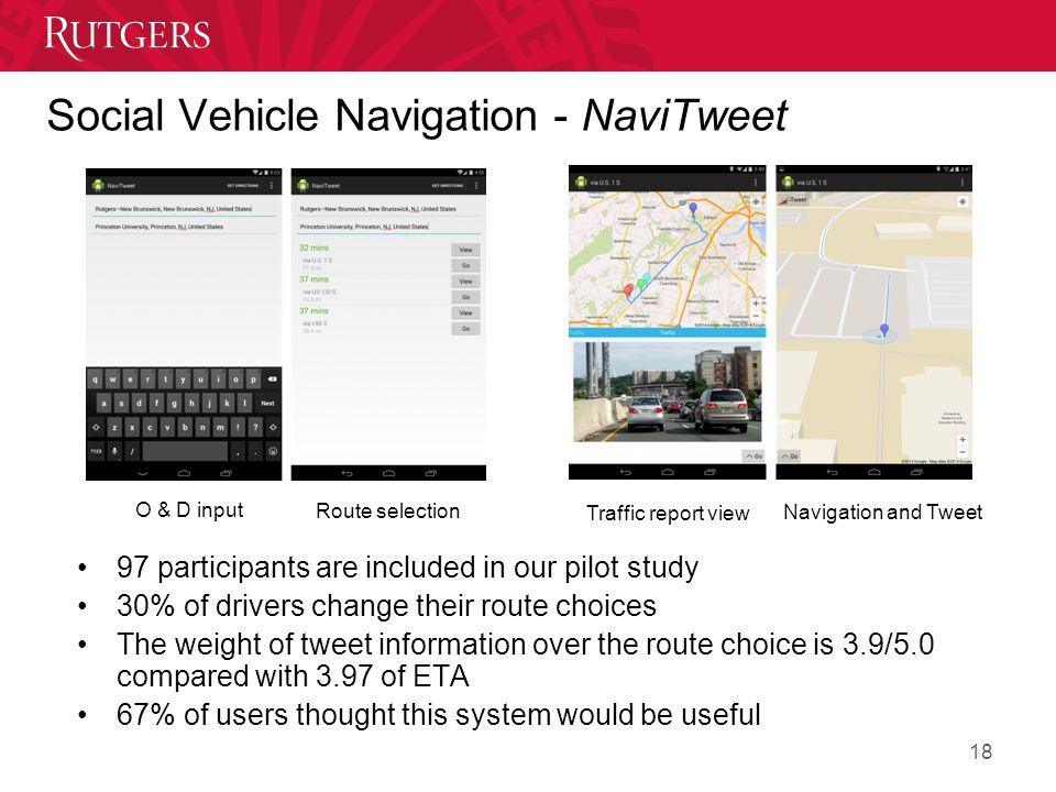 Social Vehicle Navigation - NaviTweet O & D input Route selection Traffic report view Navigation and Tweet 18 97 participants are included in our pilot study 30% of drivers change their route choices The weight of tweet information over the route choice is 3.9/5.0 compared with 3.97 of ETA 67% of users thought this system would be useful