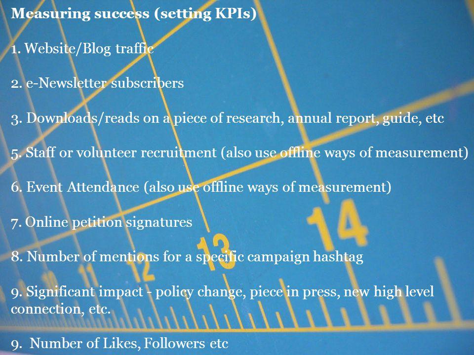 Measuring success (setting KPIs) 1. Website/Blog traffic 2.