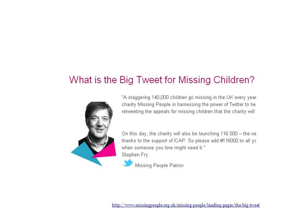 http://www.missingpeople.org.uk/missing-people/landing-pages/the-big-tweet The Big Tweet