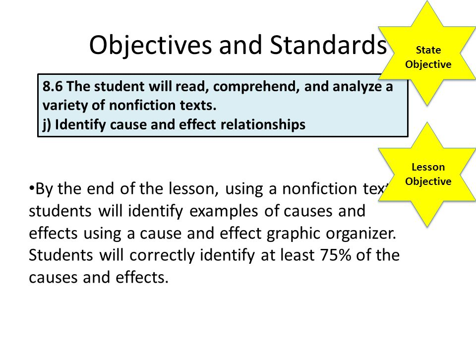 Objectives and Standards By the end of the lesson, using a nonfiction text students will identify examples of causes and effects using a cause and effect graphic organizer.