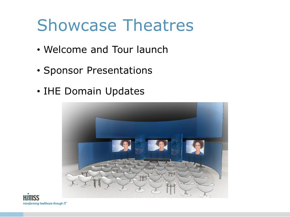 Showcase Theatres Welcome and Tour launch Sponsor Presentations IHE Domain Updates