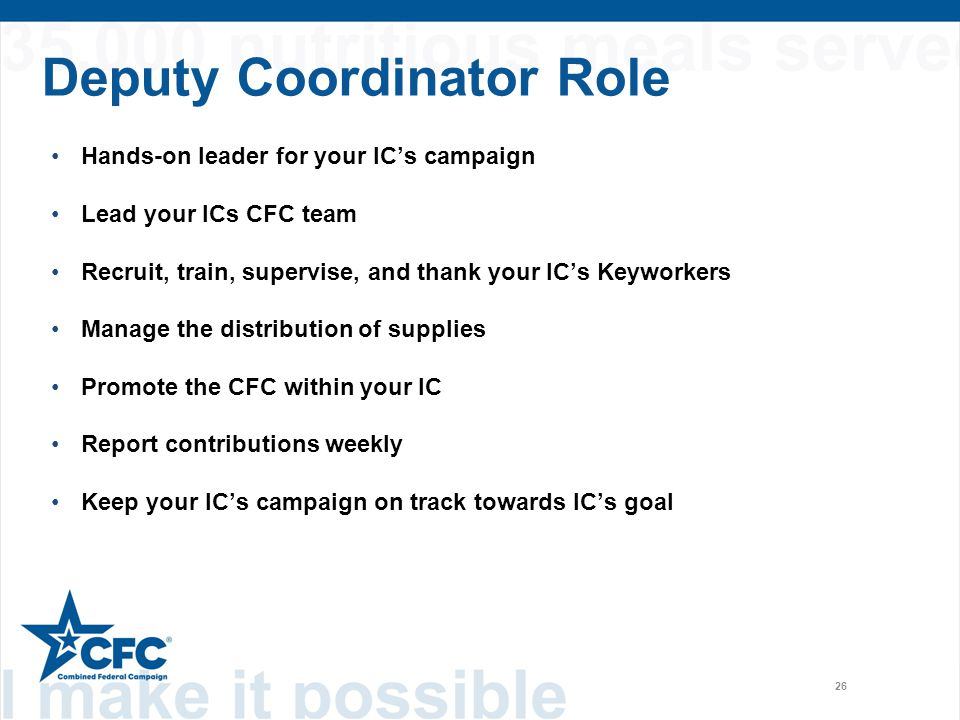 Deputy Coordinator Role 26 Hands-on leader for your IC's campaign Lead your ICs CFC team Recruit, train, supervise, and thank your IC's Keyworkers Man