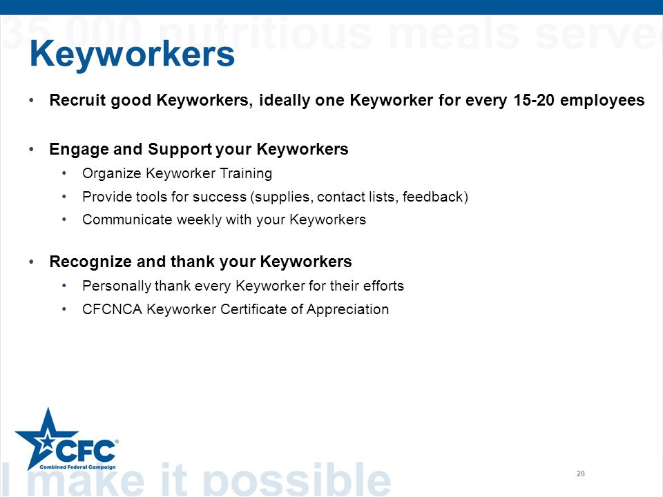 Keyworkers 28 Recruit good Keyworkers, ideally one Keyworker for every 15-20 employees Engage and Support your Keyworkers Organize Keyworker Training