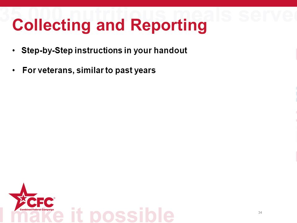 Collecting and Reporting 34 Step-by-Step instructions in your handout For veterans, similar to past years