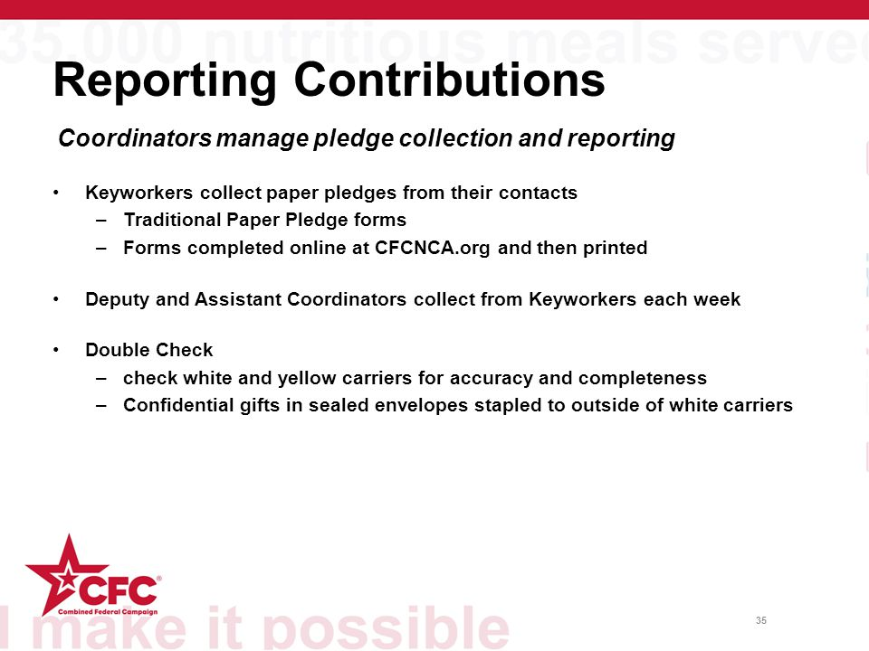 35 Reporting Contributions Keyworkers collect paper pledges from their contacts –Traditional Paper Pledge forms –Forms completed online at CFCNCA.org