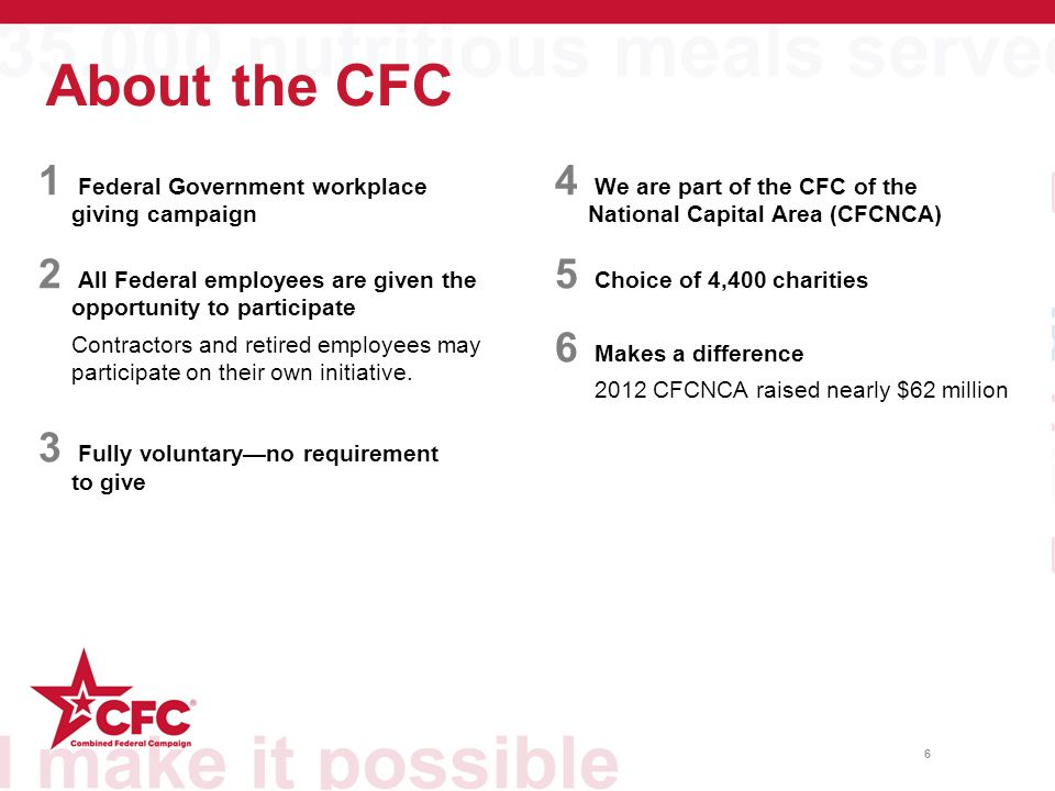 About the CFC 1 Federal Government workplace giving campaign 2 All Federal employees are given the opportunity to participate Contractors and retired
