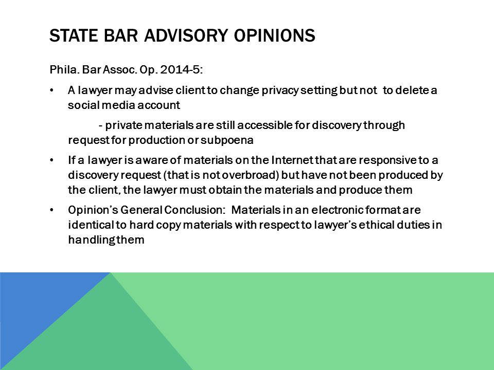 STATE BAR ADVISORY OPINIONS Phila. Bar Assoc. Op.