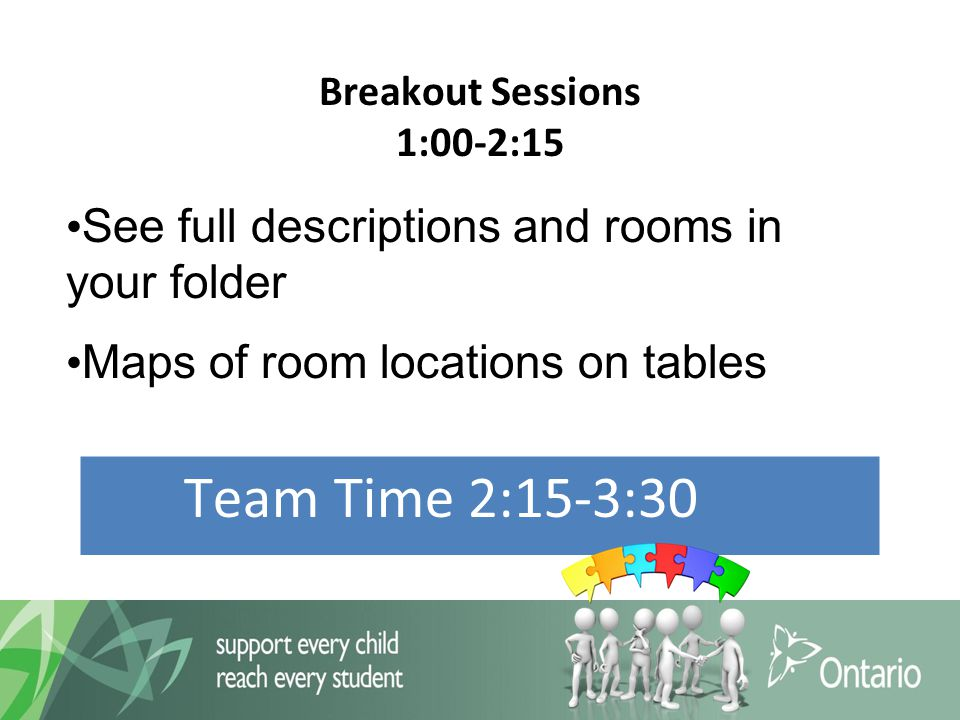 Breakout Sessions 1:00-2:15 Team Time 2:15-3:30 See full descriptions and rooms in your folder Maps of room locations on tables