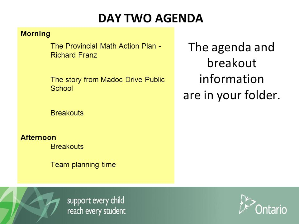 DAY TWO AGENDA The agenda and breakout information are in your folder.