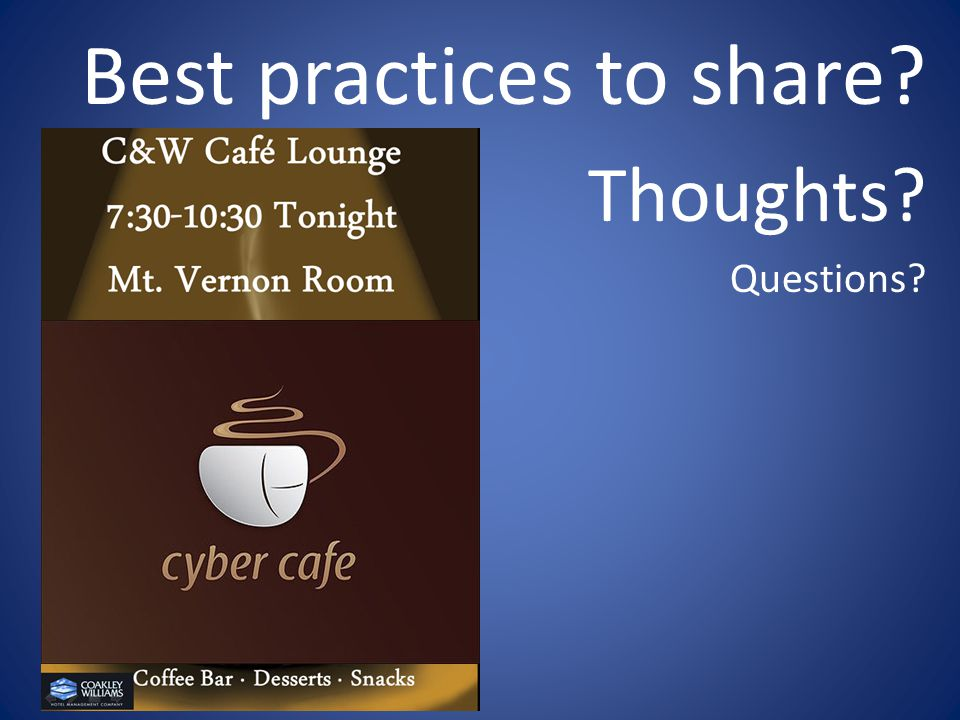 Best practices to share Thoughts Questions