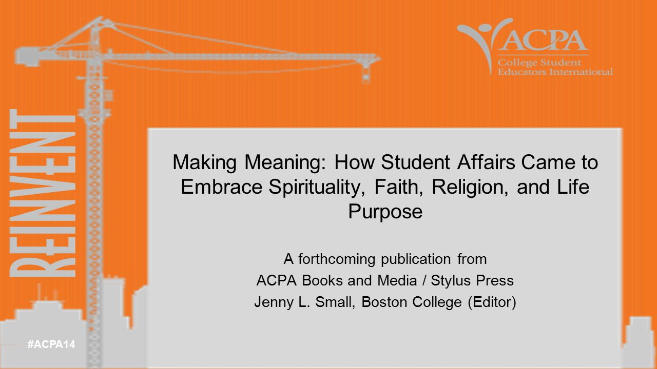 #ACPA14 A forthcoming publication from ACPA Books and Media / Stylus Press Jenny L.