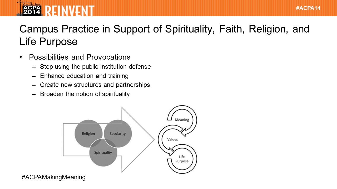 #ACPA14 #ACPAMakingMeaning Campus Practice in Support of Spirituality, Faith, Religion, and Life Purpose Possibilities and Provocations –Stop using the public institution defense –Enhance education and training –Create new structures and partnerships –Broaden the notion of spirituality